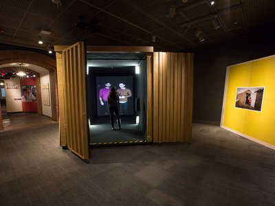 The Portal exhibition at the U.S. Holocaust Museum, offering a chance to have a conversation with refugees.