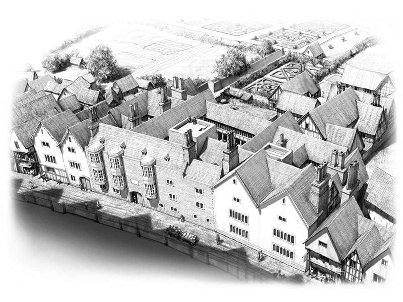 Artist's impression of Thomas Cromwell's London estate