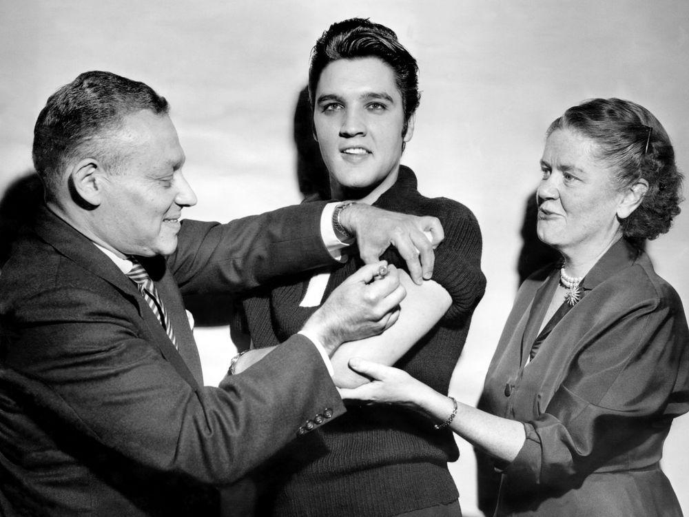 Elvis receives polio vaccine in 1956