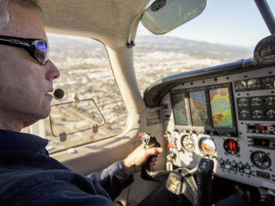 Stephen Conley flies over Aliso Canyon to take measurements of methane spewing from the natural gas storage facility in Southern California in January 2016.