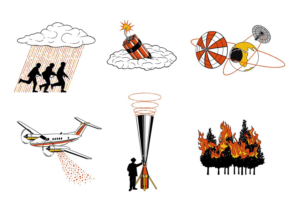 Illustrations of weather controlling attempts