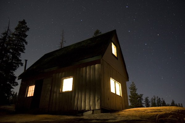 Alpine Cabin at night thumbnail
