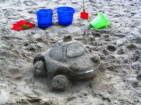 A sand taxi is ready for passengers along Virginia Beach. thumbnail