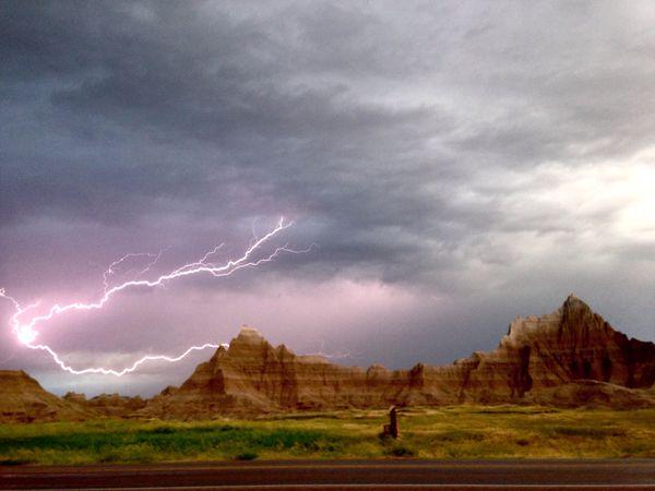 Lightning flashes over the Badlands.  thumbnail