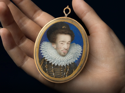 Art historian Philip Mould identified this miniature, previously thought to be a likeness of Sir Walter Raleigh, as a portrait of Henry III of France.