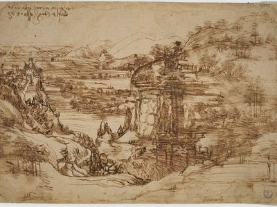 """""""Landscape 8P"""" (1473) will be on display in the Italian town of Vinci's castle to commemorate the 500th anniversary of Leonardo's death this May."""