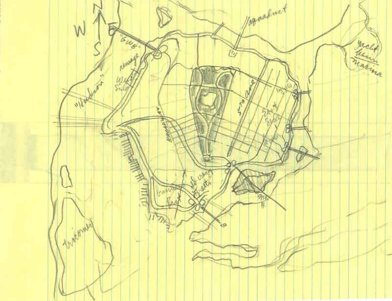 An early sketch of Gotham City, courtesy Eliot R. Brown