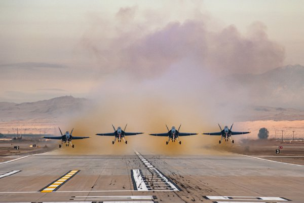 U.S. Navy Blue Angels 1 through 4 take off on winter training. thumbnail