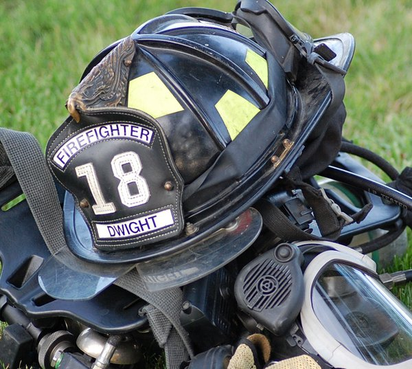 Helmet of my Firefighter Son Justin in Dwight IL on location. thumbnail