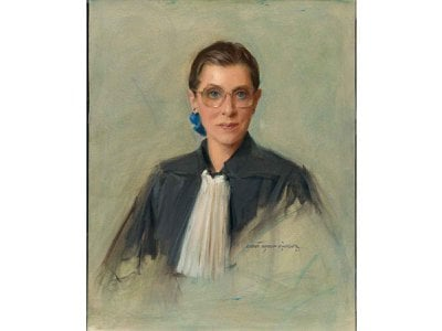 """""""Armed with a fierce intelligence and a love of analytical reasoning, Ginsburg (by Everett Raymond Kinstler, 1996)  fought passionately for all Americans to have equal representation under the law and inspired women in particular, to believe in themselves to make positive change,"""" say Kim Sajet, director of the National Portrait Gallery."""
