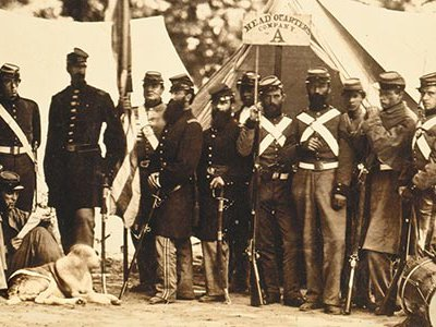 """""""We expect a fight every moment,"""" a Confederate private reported from Virginia, where New York's 8th militia, pictured, camped."""