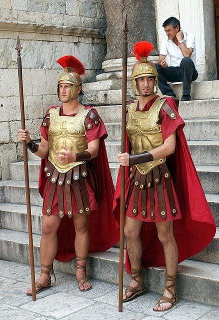 Two men reenact Roman military life in Split, Croatia.