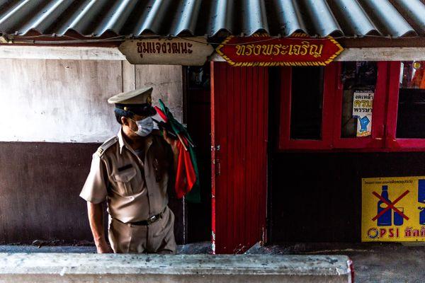 Gatekeeper at a railroad crossing thumbnail