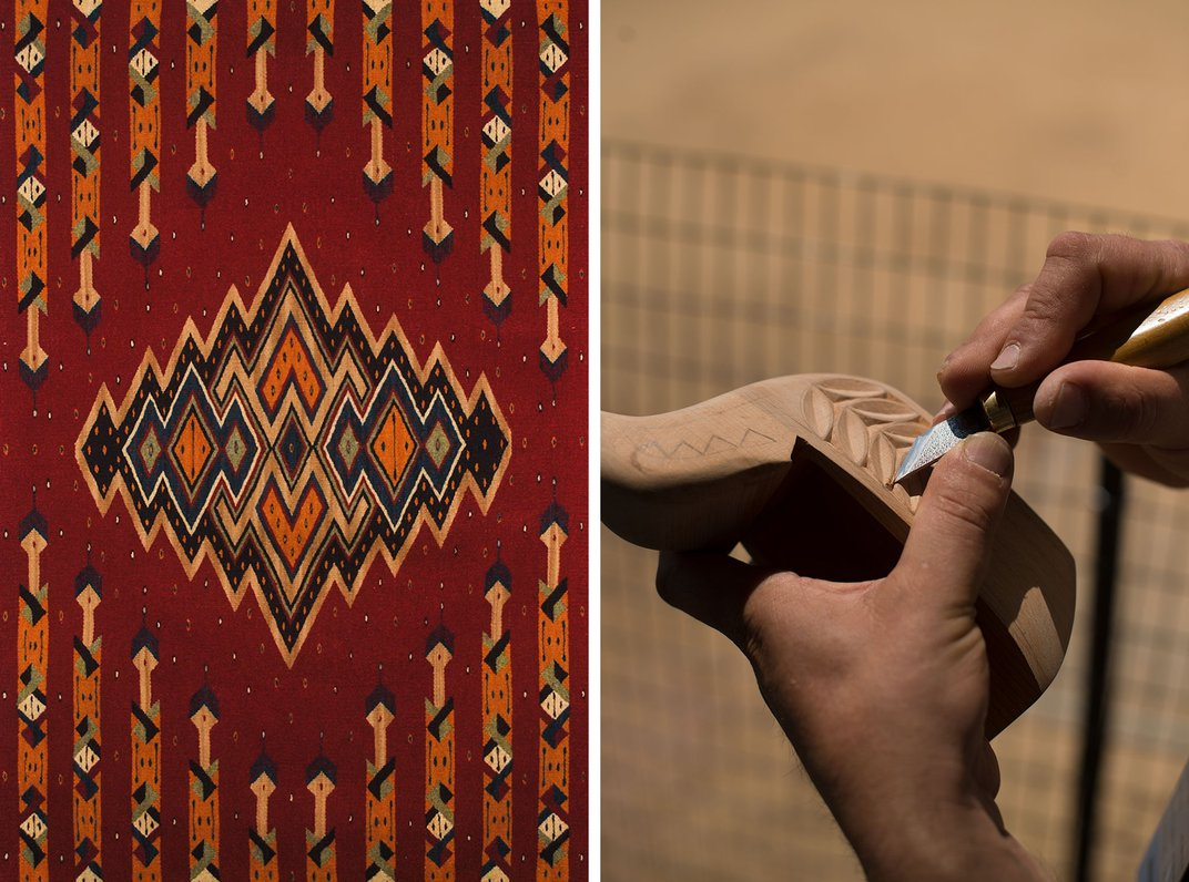 Two images side by side: on the left, a woven textile in red with black, tan, and orange geometric patterns. On the right, closeup of two hands holding and carving a piece of wood with a tool like a scalpel.