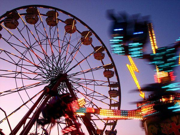An evening walk at the county fair. thumbnail
