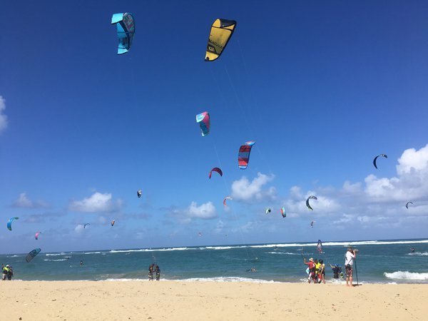 Kite surfers on Kite Beach in Cabarete, Dominican Republic thumbnail