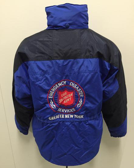 Blue jacket back with large Salvation Army seal