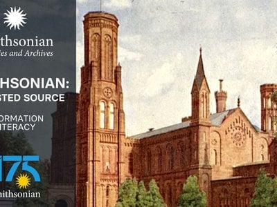 Information Literacy graphic, featuring an image of the Smithsonian Institution Building.