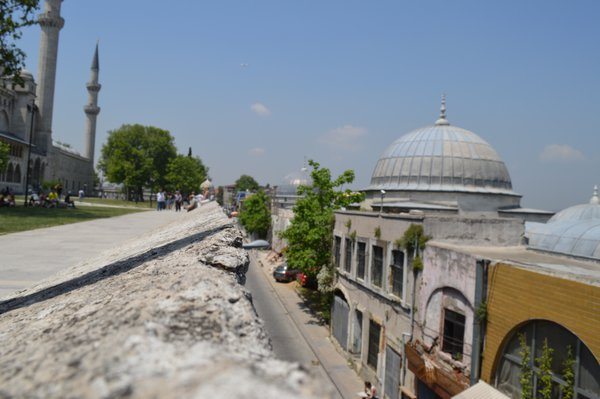 A ledge overlooking a narrow street in Istanbul thumbnail
