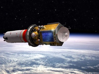 A rendering of the Hope probe leaving Earth