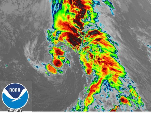 Satellite image of tropical storm Theta