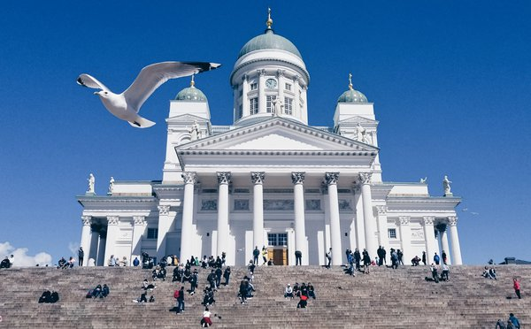A seagull flying over The Evangelical Lutheran Church of Finland  thumbnail