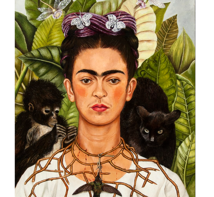 Artwork - Self-Portrait with thorn necklace and hummingbird.png