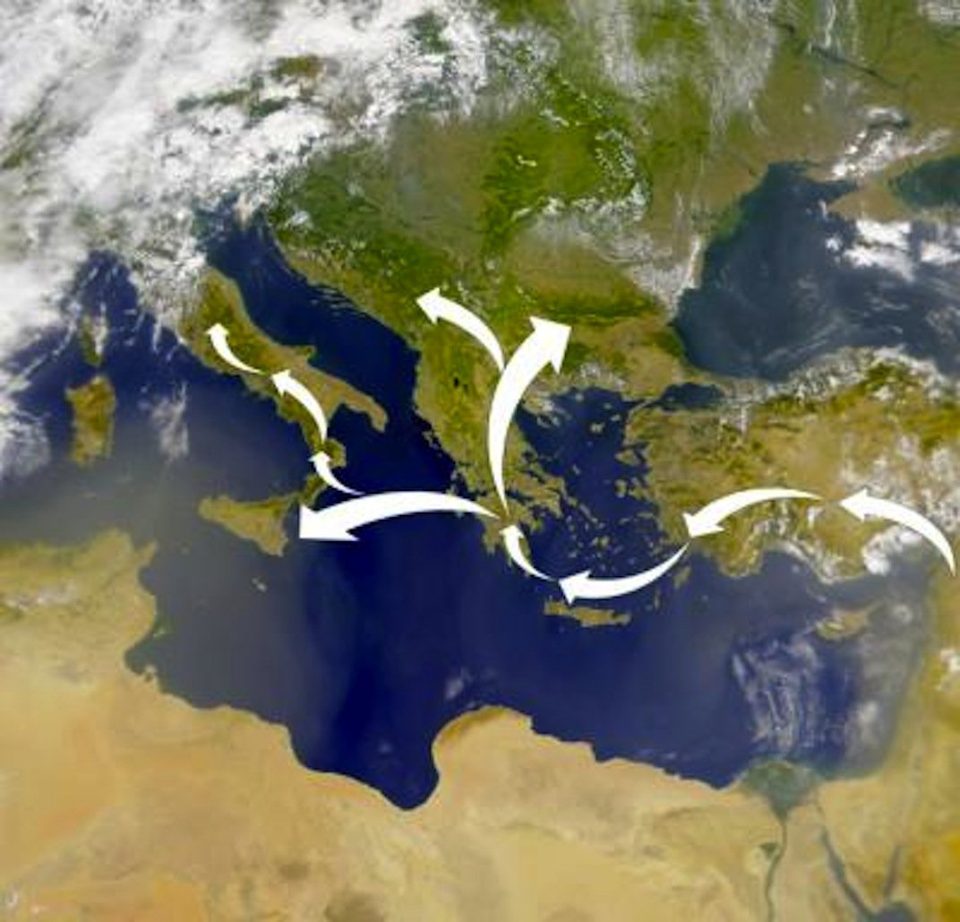 Genetic markers in modern populations indicate the Neolithic migrants who brought farming to Europe traveled from the Levant into Anatolia and then island hopped to Greece via Crete and then to Sicily and north into Southern Europe.