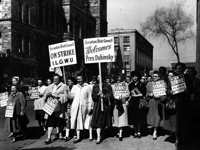 Labor leader Min Matheson was an inspiration to the garment workers she organized in Pennsylvania's Wyoming Valley. Here, ILGWU members picket in Scranton in 1958.