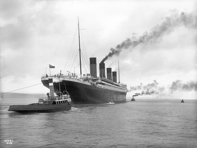 The R.M.S. Titanic, seen departing Belfast on April 2, 1912