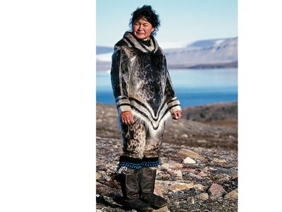Sealskin clothing, shown here on Aaju Peter, is waterproof, durable, and warm.