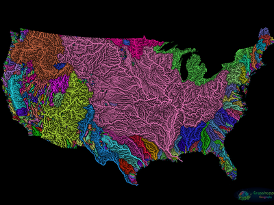 River basin map of the contiguous United States