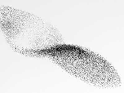 A dense flock of starlings in the sky above Rome.
