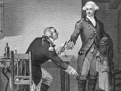 Benedict Arnold, shown on the left concealing his plans in John André's boot, has become synonymous with treason but before he betrayed America, he saved it.