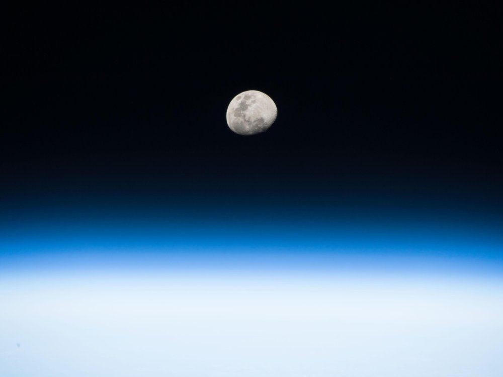 the moon seen from the International Space Station