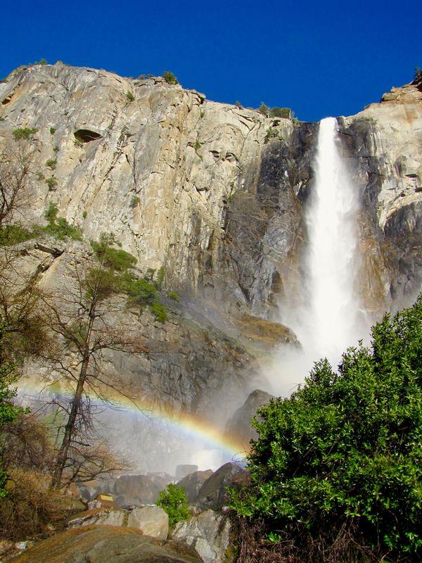 Rainbow at Bridalveil Falls, Yosemite National Park thumbnail