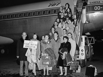 Members of the U. S. Figure Skating Team pose before boarding Belgian Sabena airline plane at Idle Wild airport, Feb. 14, 1961, New York. The plane crashed Feb. 15 near the Brussels, Belgium Airport killing all on board.