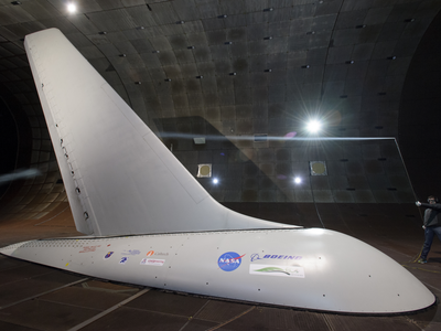 A full-size Boeing 757 tail equipped with sweeping jets was tested in a wind tunnel at the Ames Research Center.