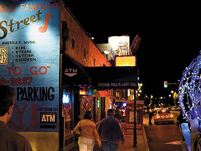 A throbbing two-block entertainment district is all that is left of old Beale Street, most of which was razed in urban renewal schemes.