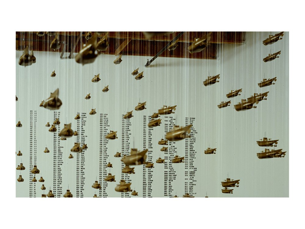 Installation photograph of Chris Burden's All the Submarines of the United States of America at Christine Burgin Gallery, 1987 (detail) / unidentified photographer. Christine Burgin Gallery records, 1980-2016. Archives of American Art, Smithsonian Institution.