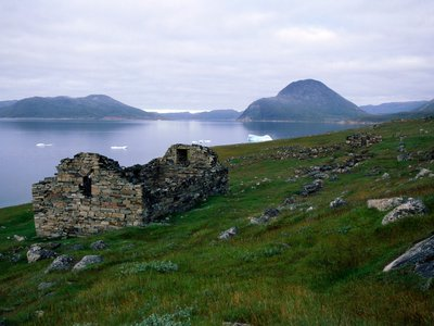 The ruins of an ancient Norse settlement still stand near Hvalsey Fjord in Greenland.