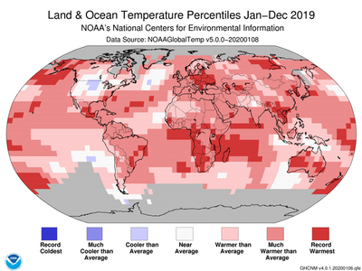 In 2019, the average temperature across global land and ocean surfaces was 0.95 degrees Celsius (1.71 degrees Fahrenheit) above the 20th century average.