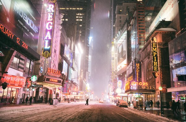 Times Square on a Winter Night in New York City thumbnail
