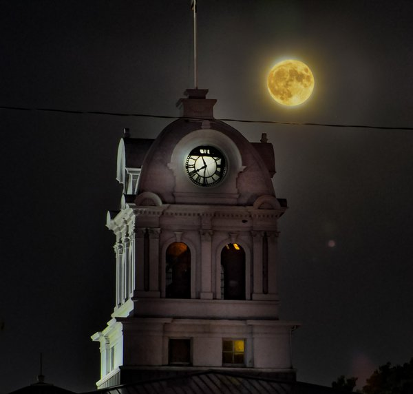 Rising harvest moon above our Court House thumbnail