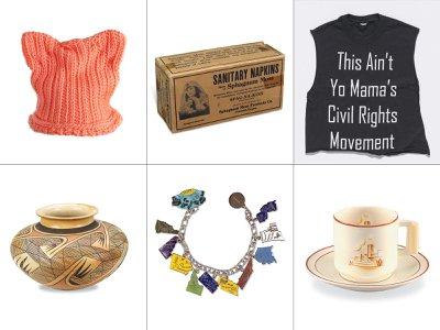The new book, subtitled Remarkable Objects and Stories of Strength, Ingenuity, and Vision from the National Collection includes clockwise from top left: crocheted pussyhat; Sfag-Na-Kins sanitary napkins, Black Lives Matter T-shirt; a clay pot by Hopi-Tewa potter Nampeyo and her daughter Fannie; Alice Paul's ERA charm bracelet; and a cup and saucer by designer Belle Kogan.