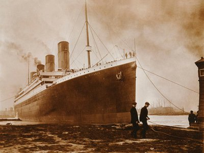 The Titanic leaving Belfast on April 2, 1912. The black streak can be seen just above the water line.