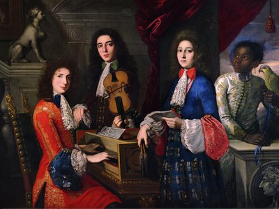 A typical day for three musicians in the Medici Court. This portrait, of three unnamed musicians, was painted circa 1687.