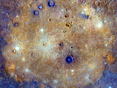 Four of the seven newly named Mercury's faculae lie in the Caloris basin, shown here.
