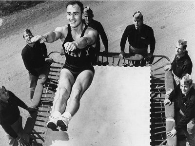 The military latched on to the trampoline as a training device for pilots, to allow them to learn how to reorient themselves to their surroundings after difficult air maneuvers.
