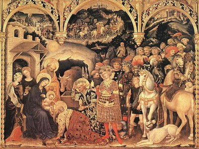 """Gentile de Fabriano's gold-encrusted 1423 """"Adoration of the Magi"""" altarpiece features Arabic script on the Virgin Mary's and Saint Joseph's haloes"""